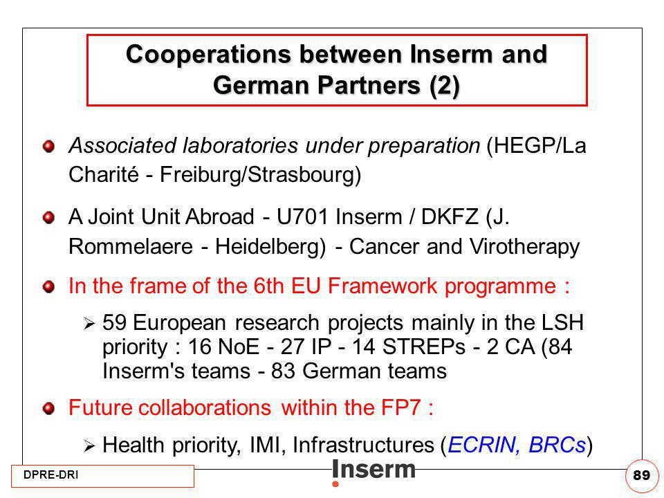 Cooperations between Inserm and German Partners (2)