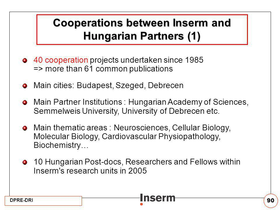 Cooperations between Inserm and Hungarian Partners (1)