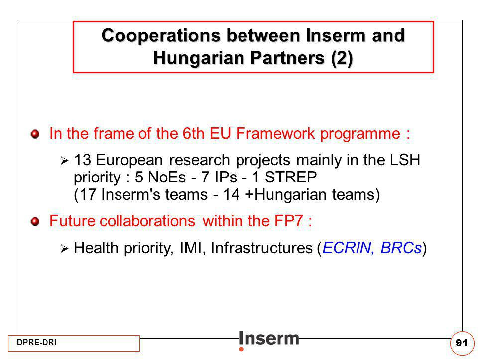 Cooperations between Inserm and Hungarian Partners (2)