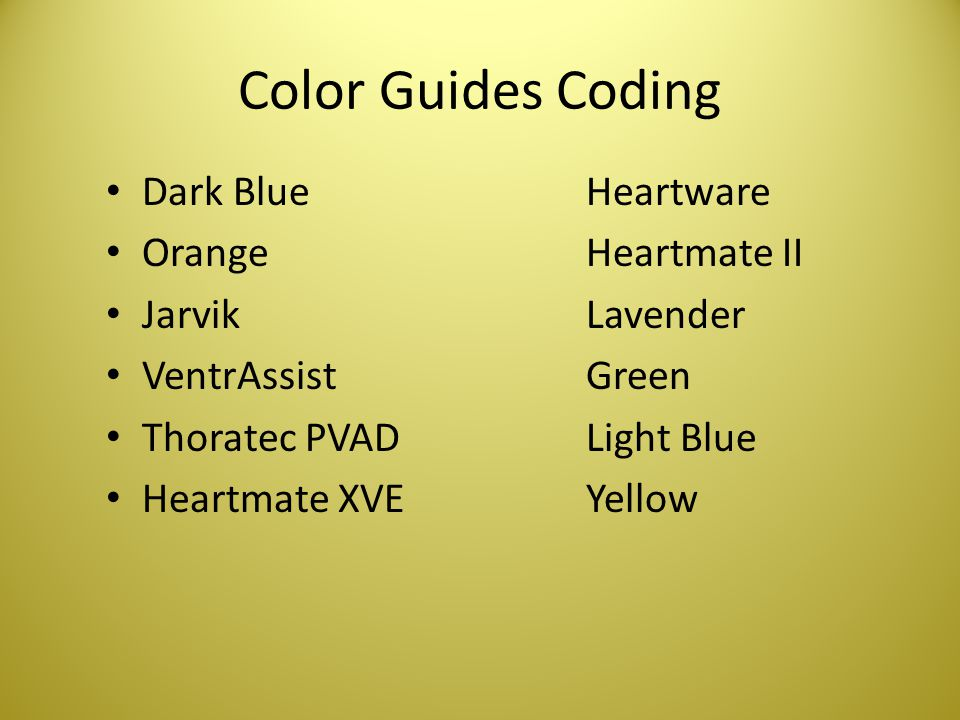 Color Guides Coding Dark Blue Heartware Orange Heartmate II