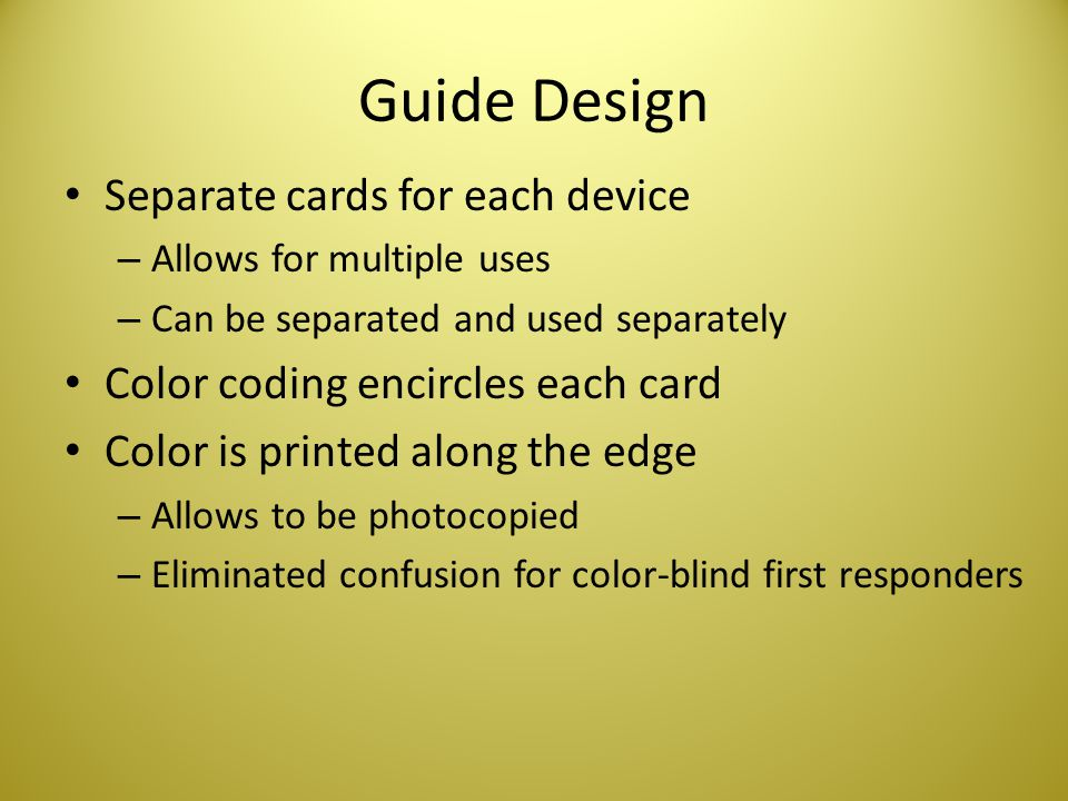 Guide Design Separate cards for each device