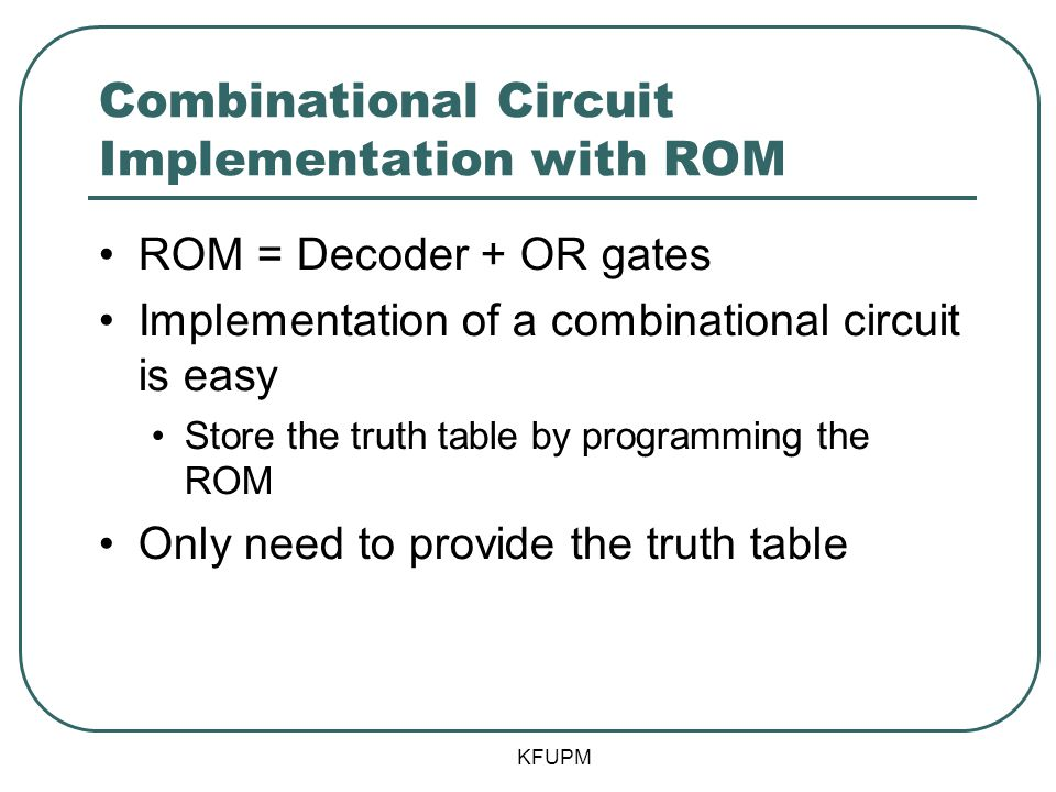Combinational Circuit Implementation with ROM