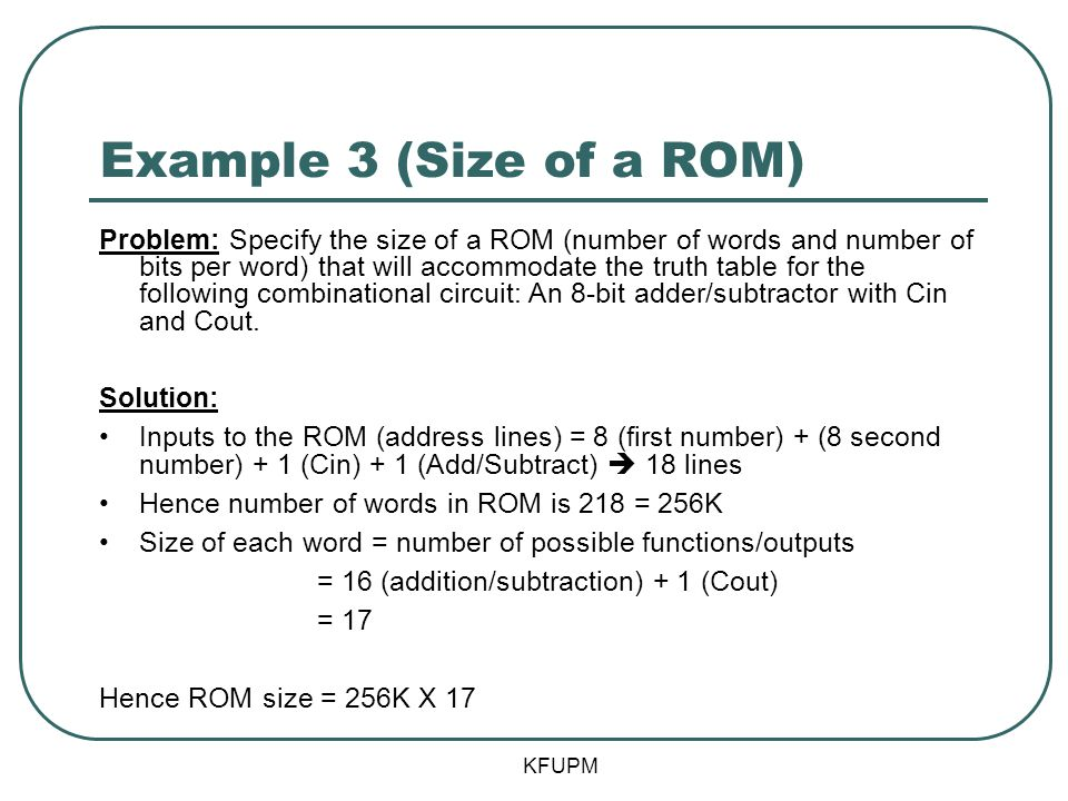 Example 3 (Size of a ROM)
