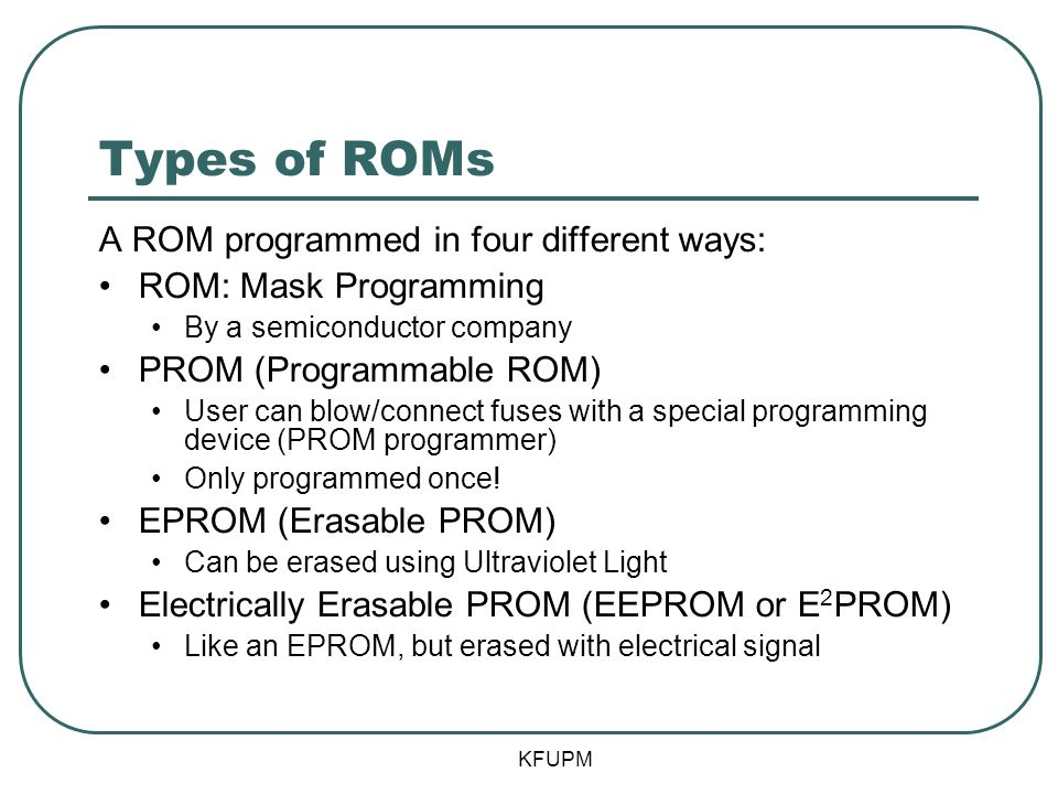 Types of ROMs A ROM programmed in four different ways: