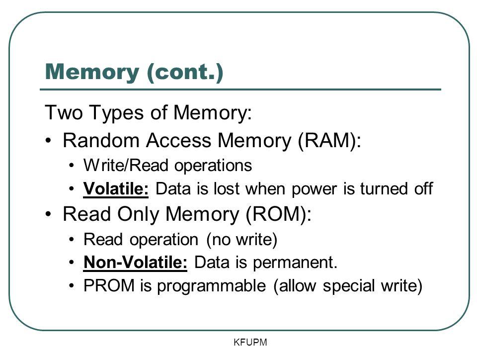 Memory (cont.) Two Types of Memory: Random Access Memory (RAM):