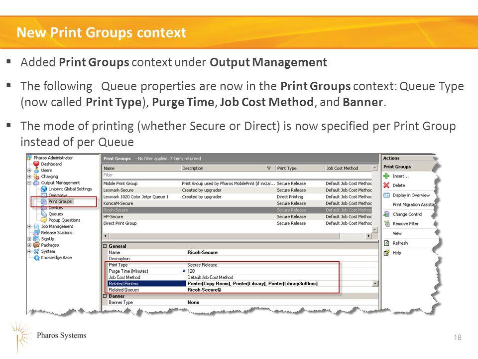 New Print Groups context