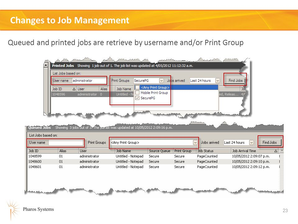 Changes to Job Management