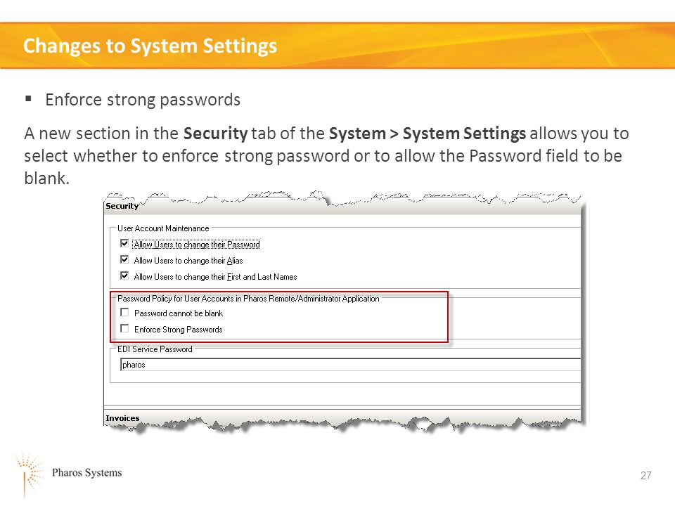 Changes to System Settings