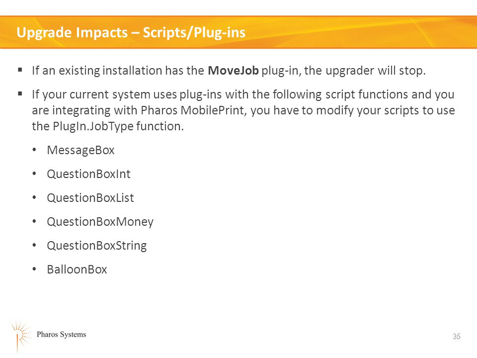 Upgrade Impacts – Scripts/Plug-ins