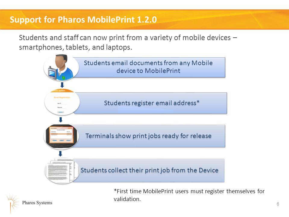 Support for Pharos MobilePrint 1.2.0