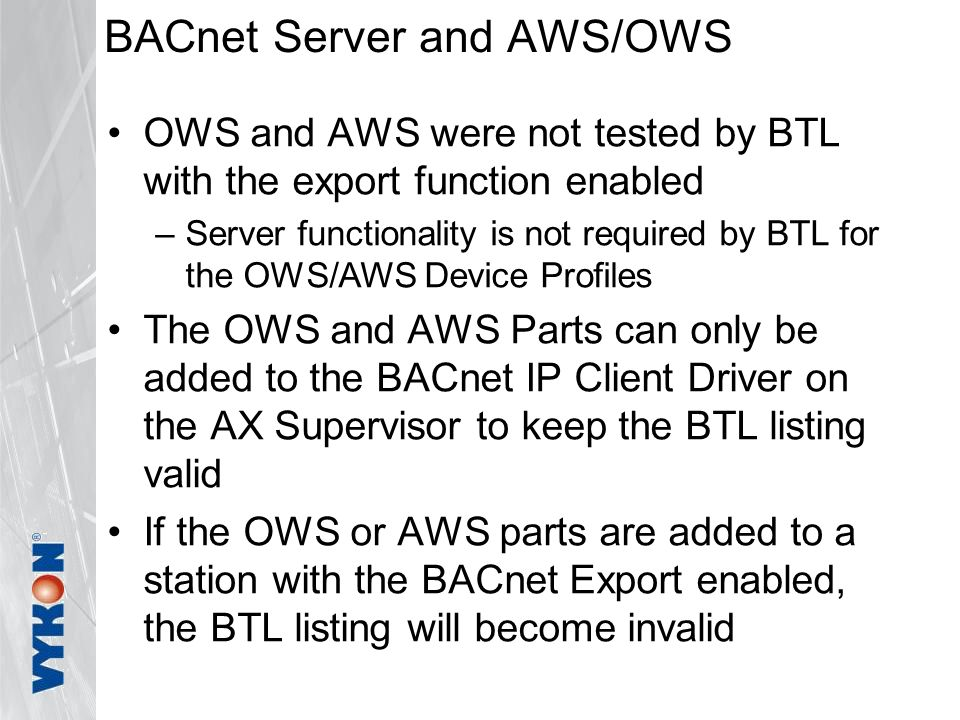 BACnet Server and AWS/OWS