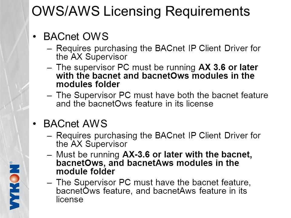 OWS/AWS Licensing Requirements