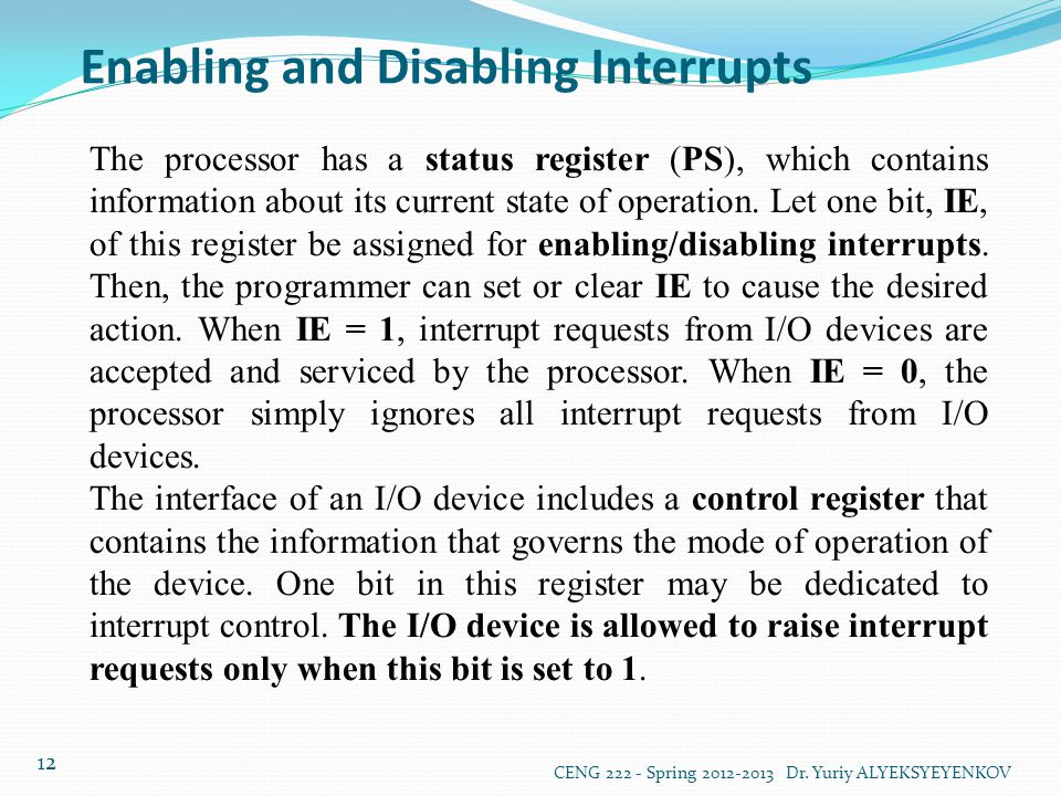 Enabling and Disabling Interrupts