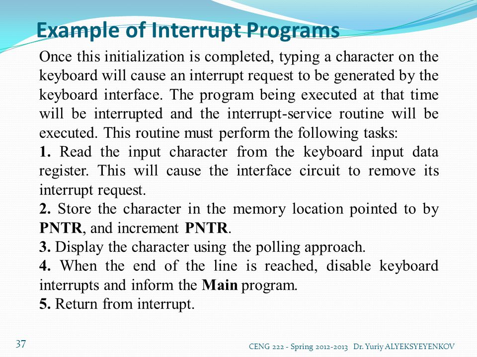Example of Interrupt Programs