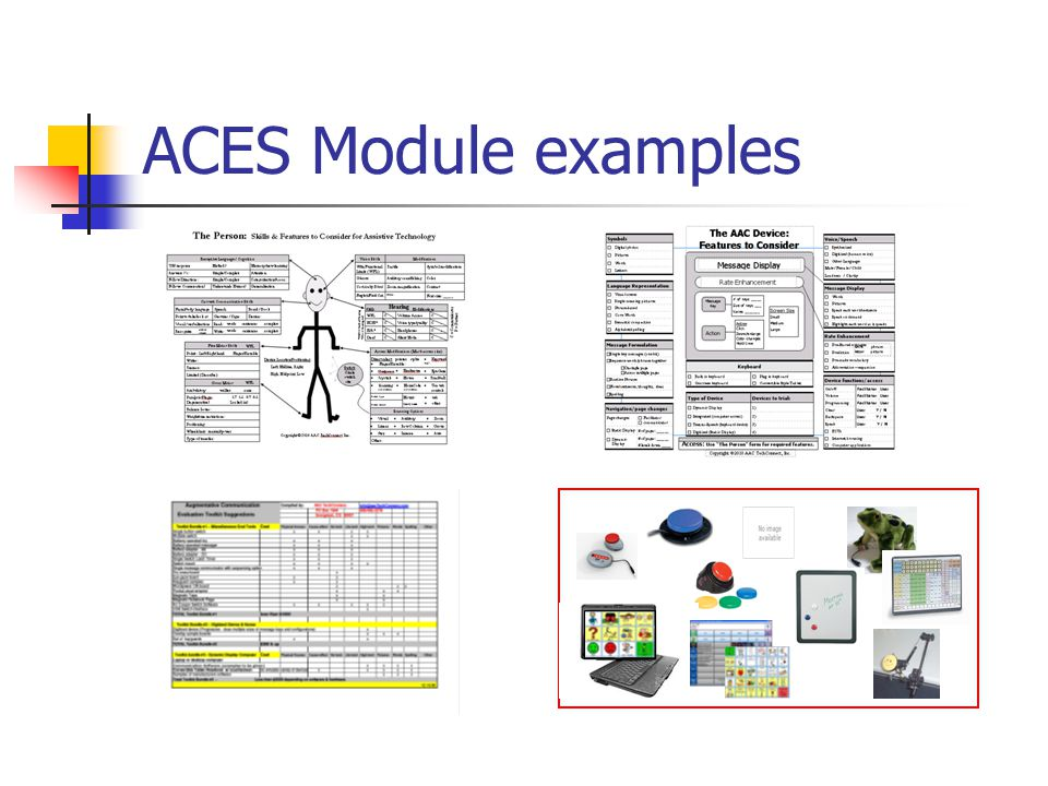 ACES Module examples The Person: Skills & Features to Consider for Assistive Technology.
