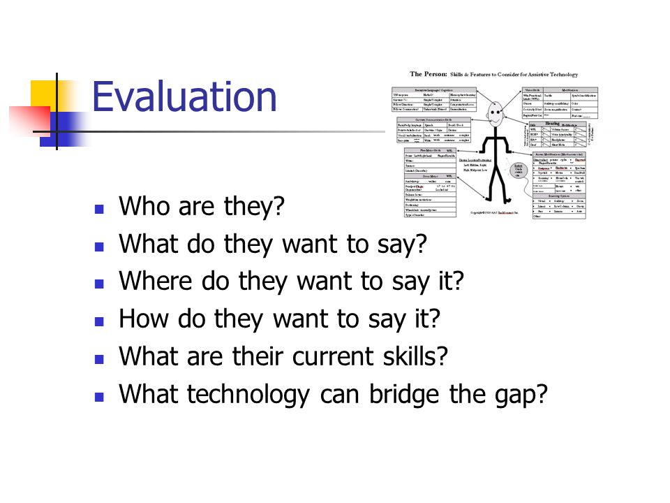 Evaluation Who are they What do they want to say