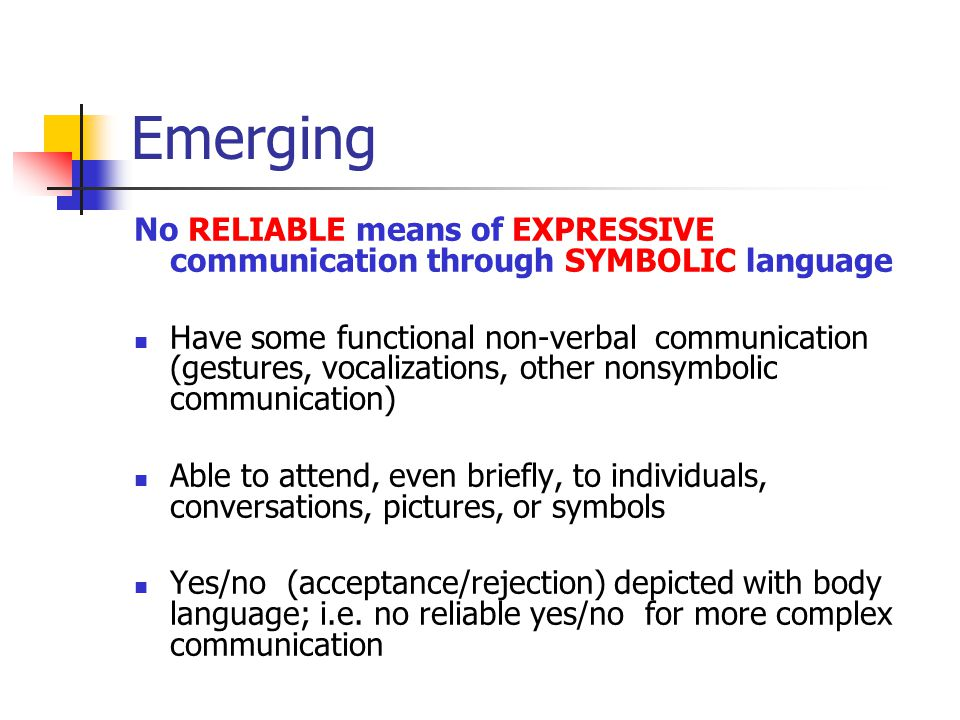 Emerging No RELIABLE means of EXPRESSIVE communication through SYMBOLIC language.