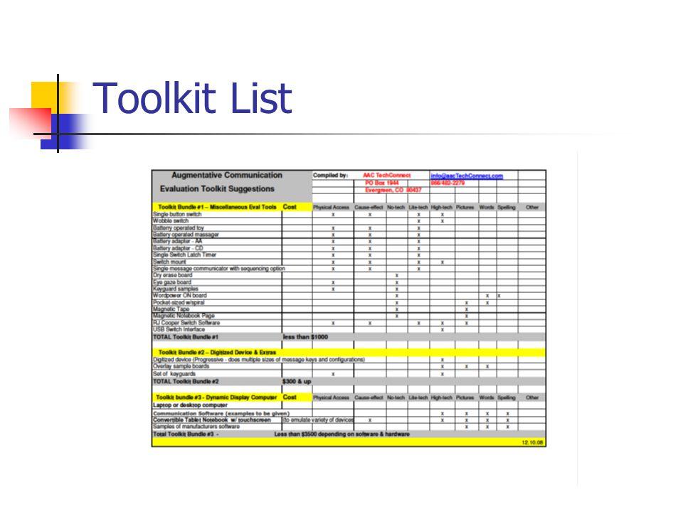 Toolkit List