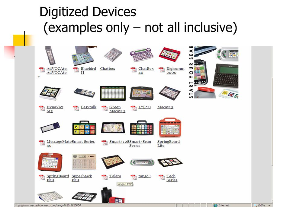 Digitized Devices (examples only – not all inclusive)