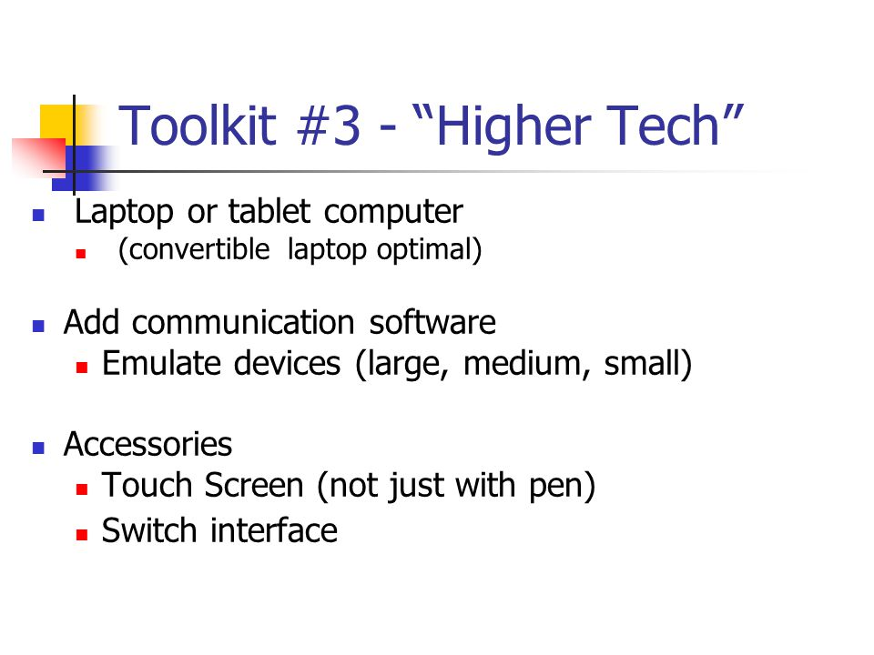 Toolkit #3 - Higher Tech
