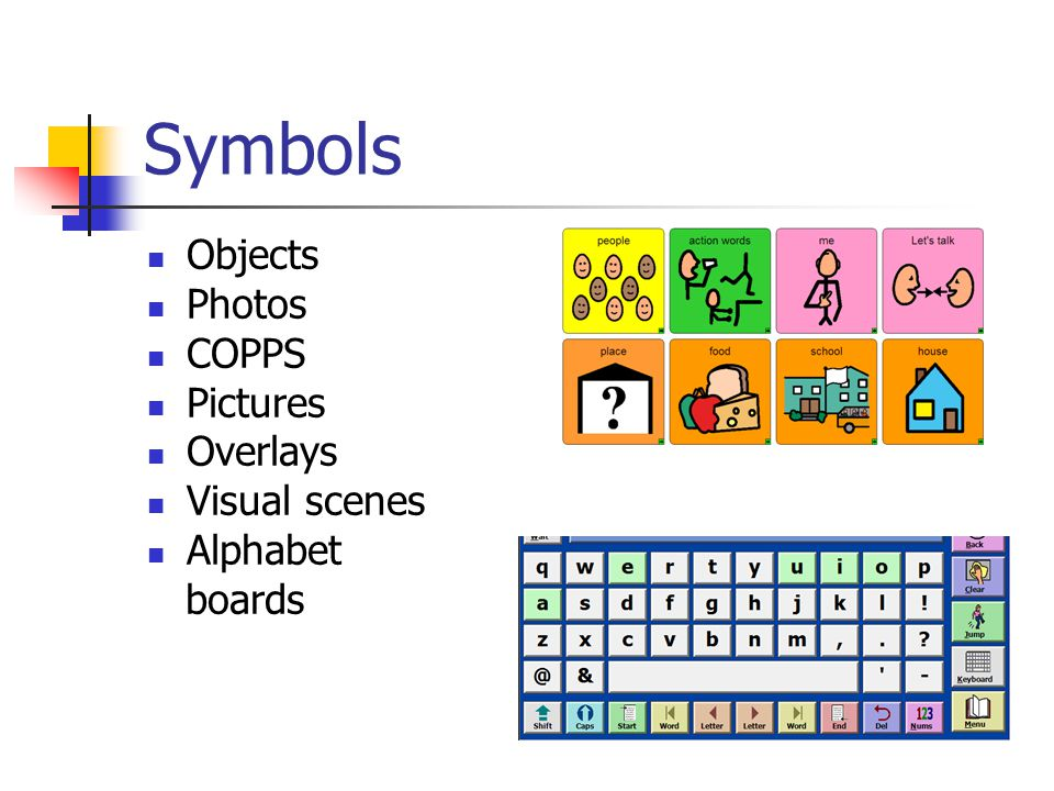 Symbols Objects Photos COPPS Pictures Overlays Visual scenes Alphabet