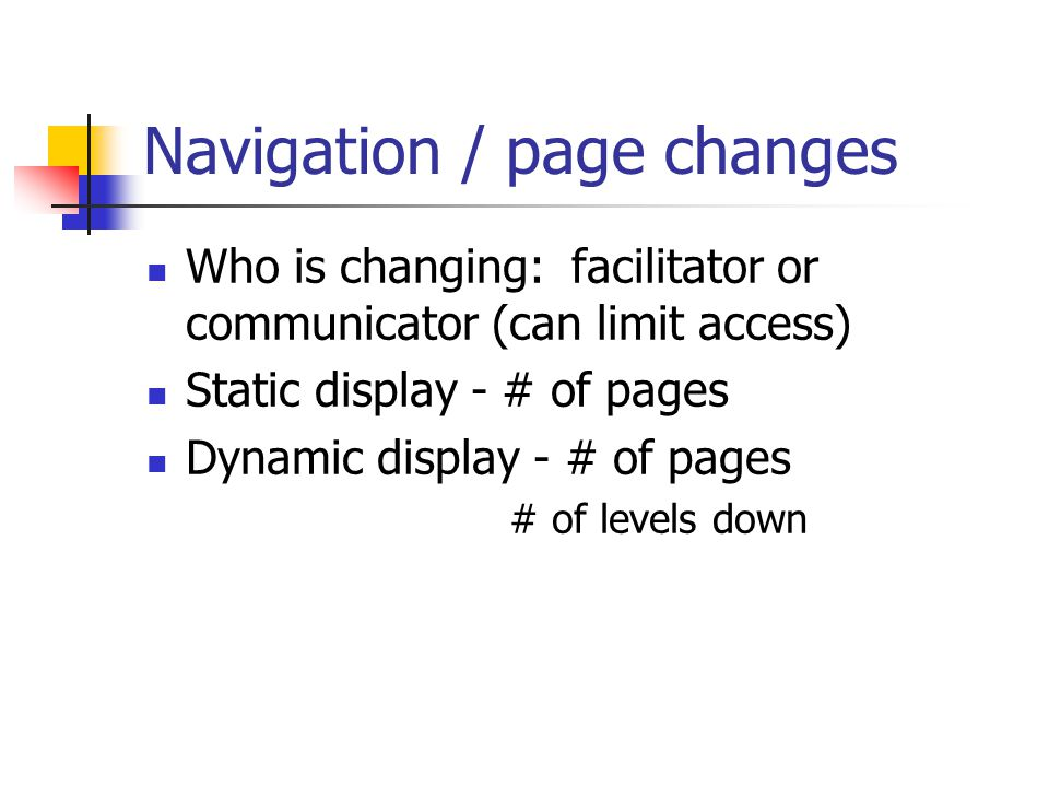 Navigation / page changes