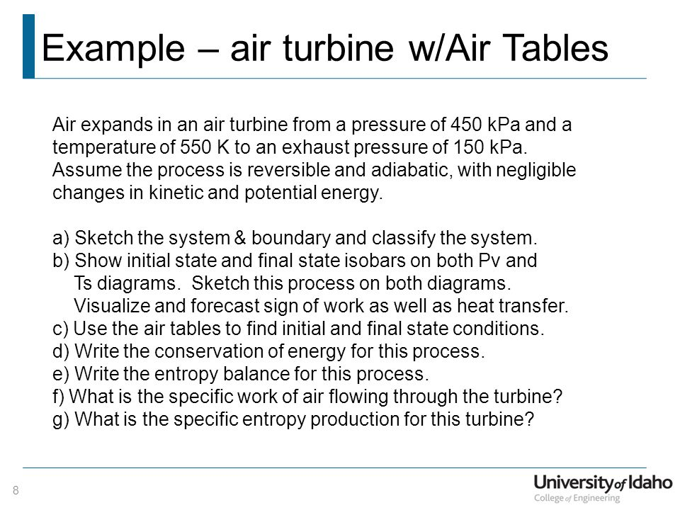 Example – air turbine w/Air Tables