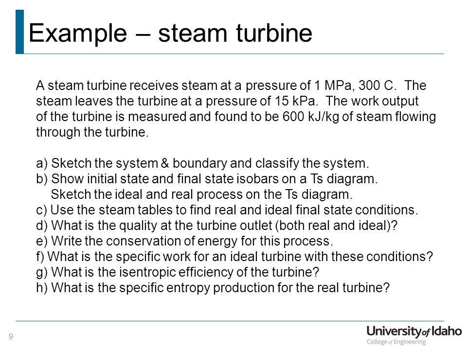 Example – steam turbine