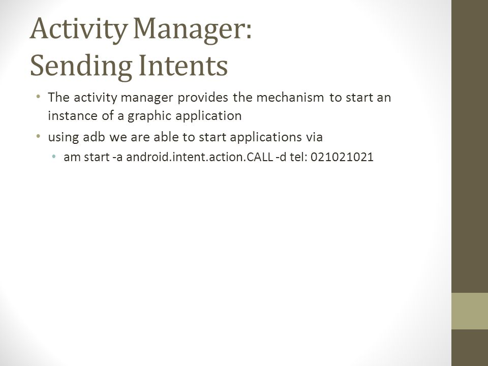 Activity Manager: Sending Intents