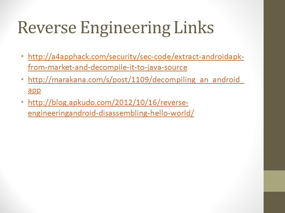 Reverse Engineering Links