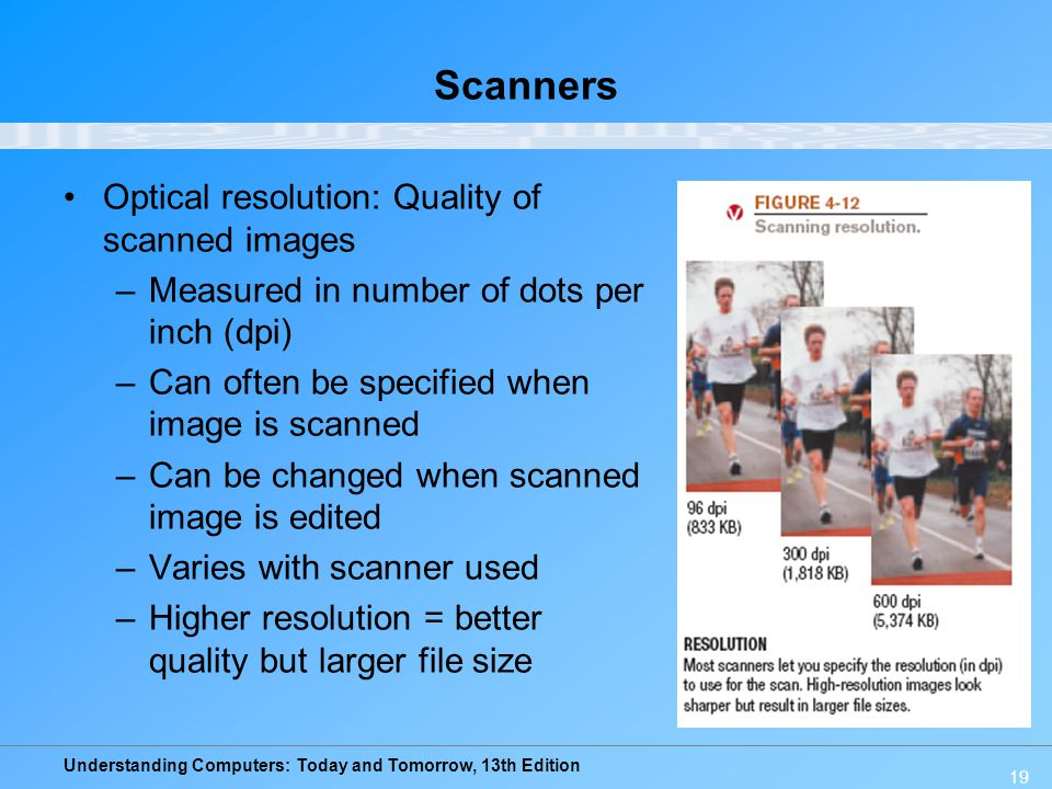 Scanners Optical resolution: Quality of scanned images