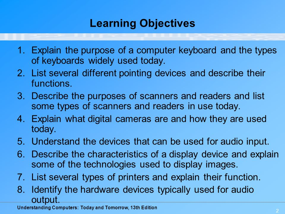 Learning Objectives Explain the purpose of a computer keyboard and the types of keyboards widely used today.