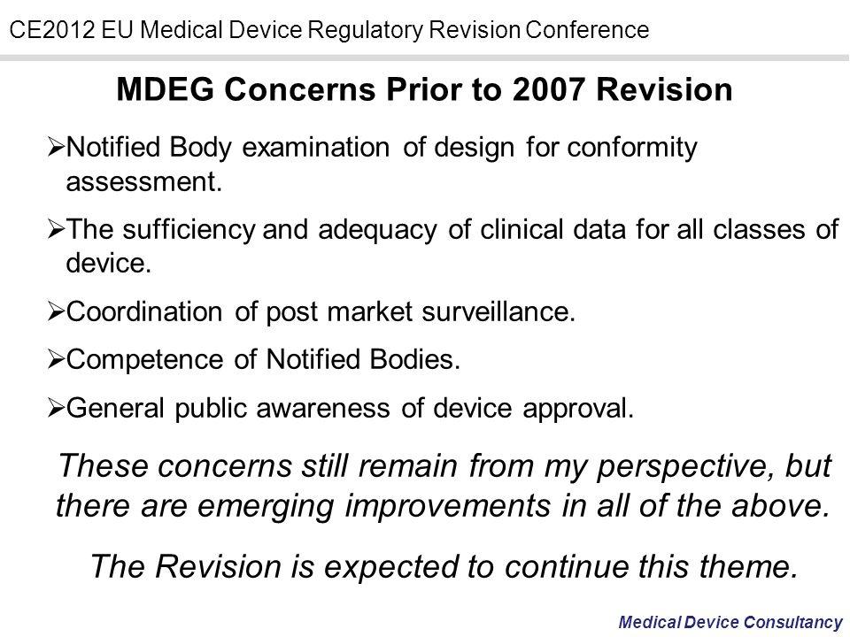 MDEG Concerns Prior to 2007 Revision