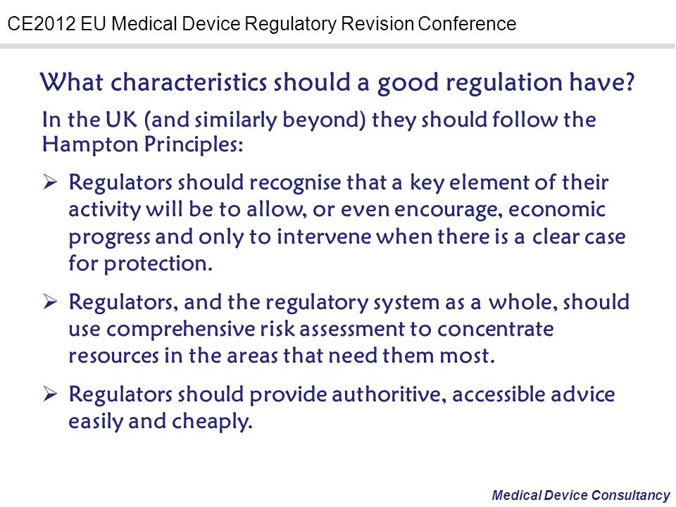 What characteristics should a good regulation have