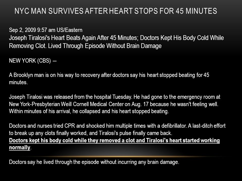 NYC Man Survives After Heart Stops For 45 Minutes