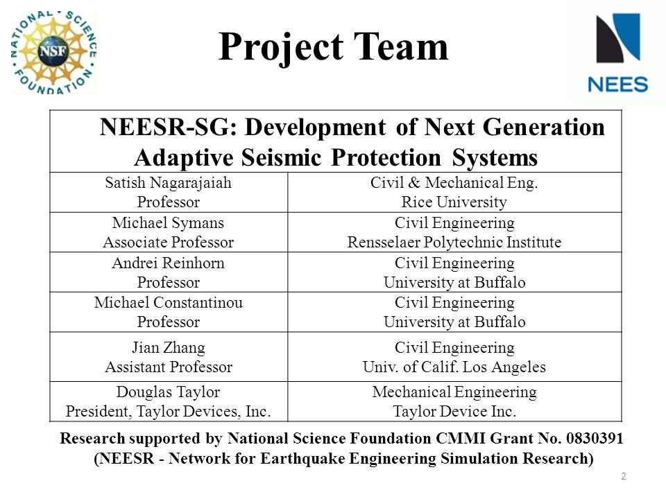 (NEESR - Network for Earthquake Engineering Simulation Research)