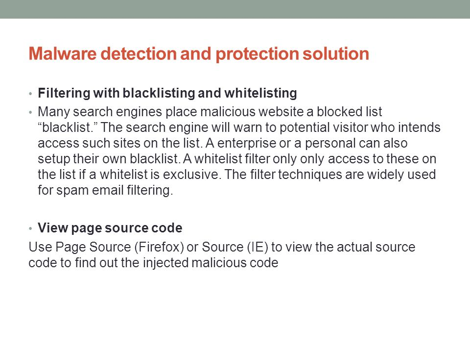 Malware detection and protection solution