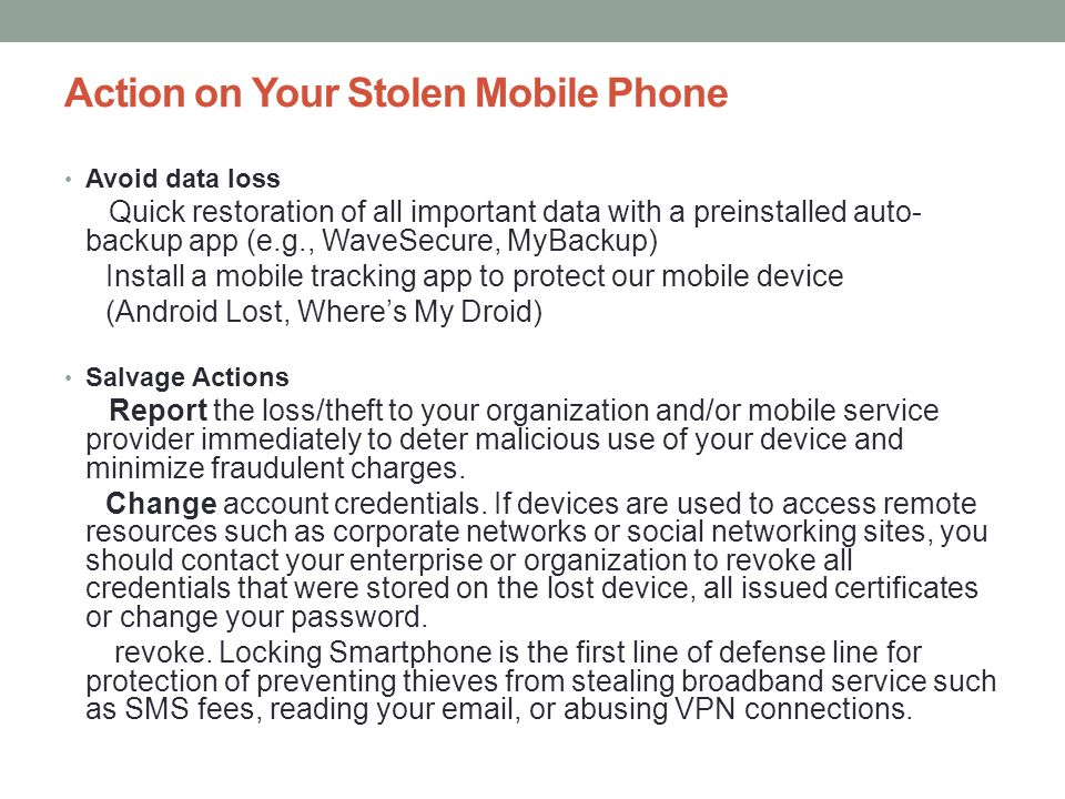 Action on Your Stolen Mobile Phone