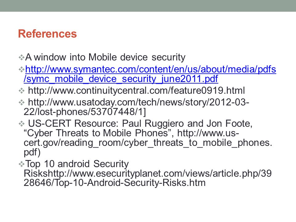 References A window into Mobile device security