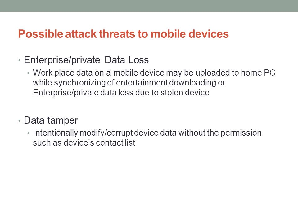 Possible attack threats to mobile devices