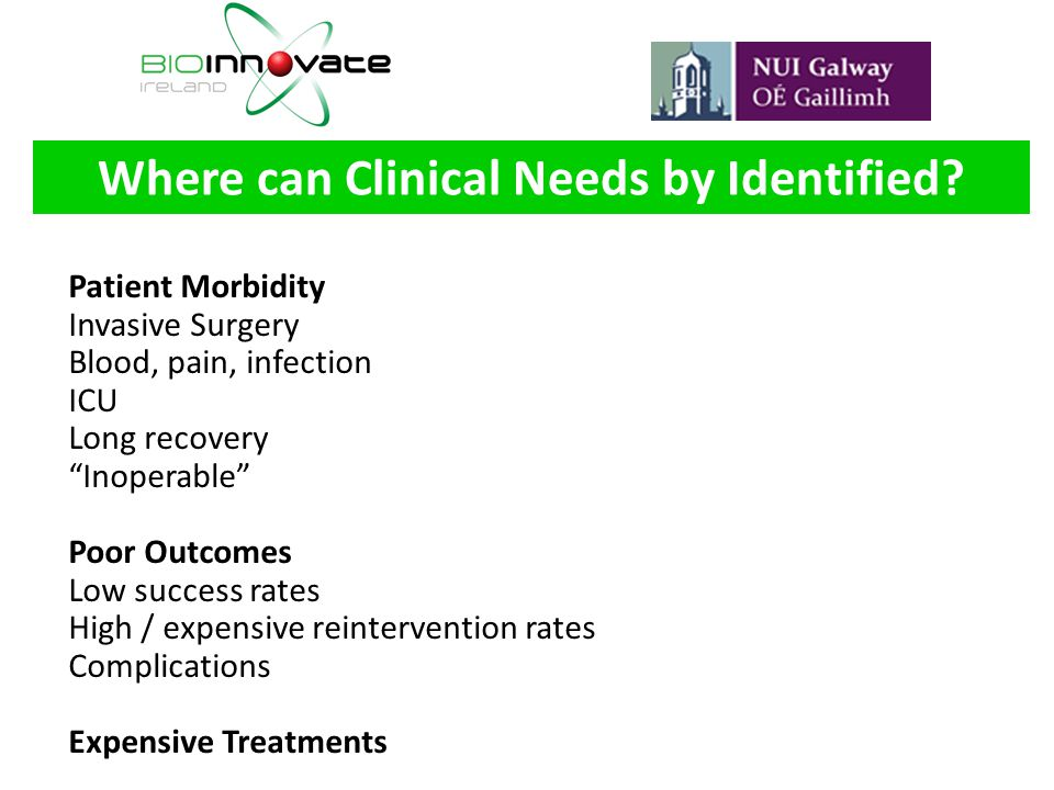 Where can Clinical Needs by Identified
