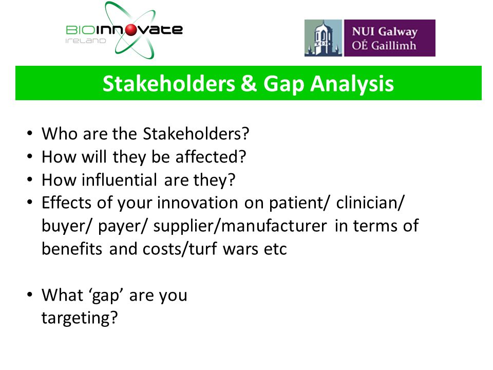 Stakeholders & Gap Analysis