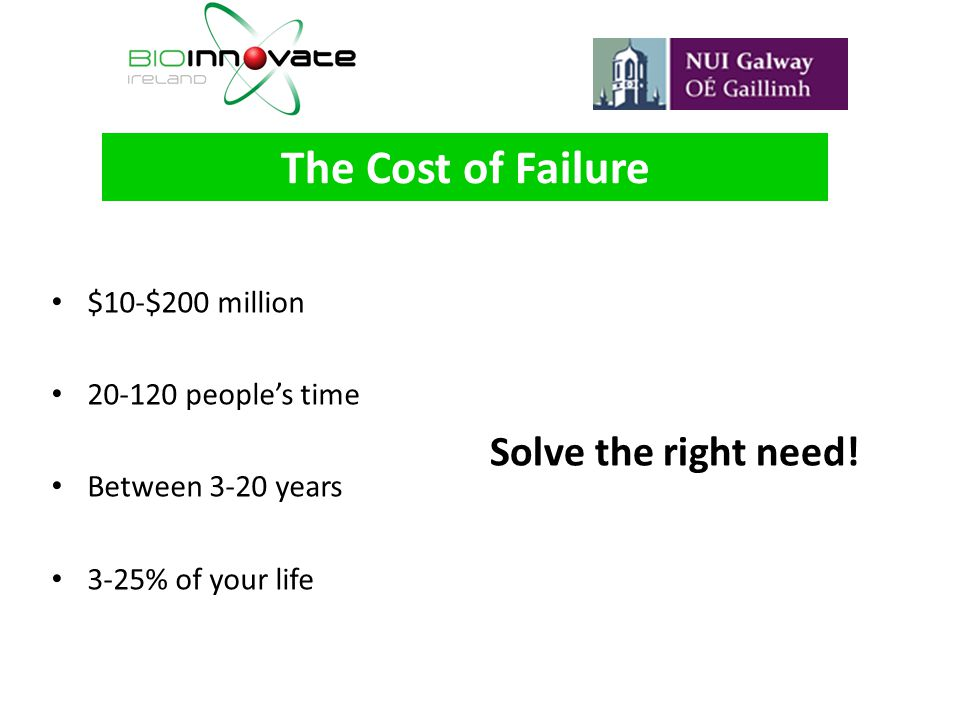 The Cost of Failure Solve the right need! $10-$200 million