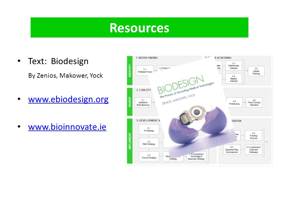 Resources Text: Biodesign By Zenios, Makower, Yock www.ebiodesign.org