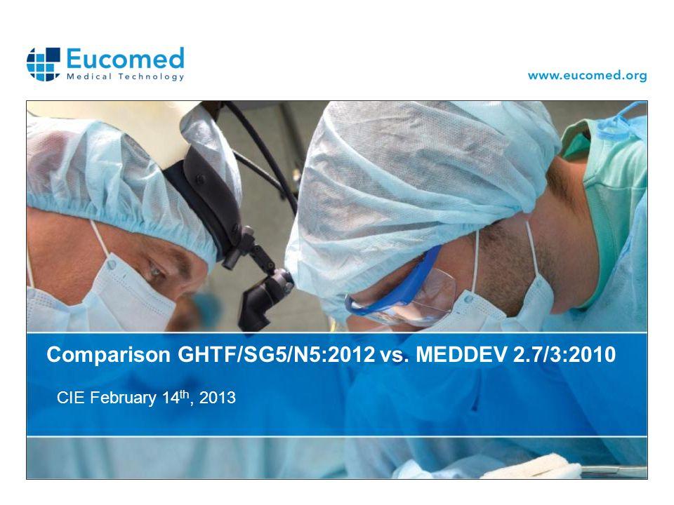 Comparison GHTF/SG5/N5:2012 vs. MEDDEV 2.7/3:2010