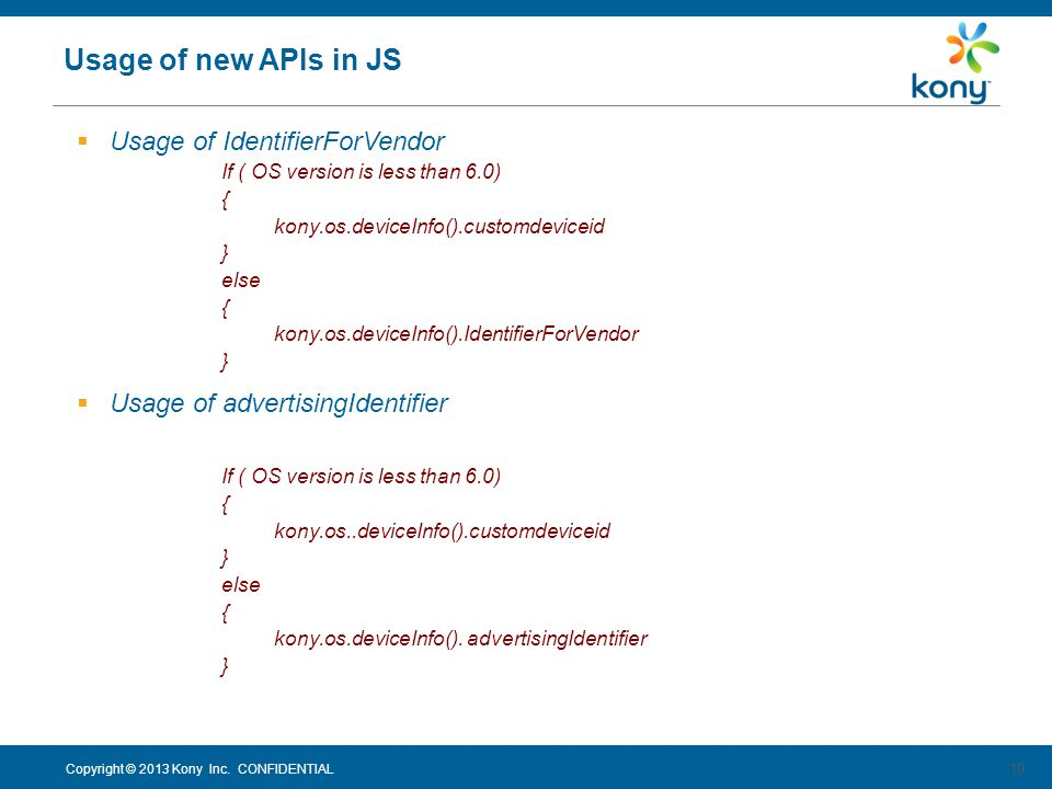 Usage of new APIs in JS Usage of IdentifierForVendor