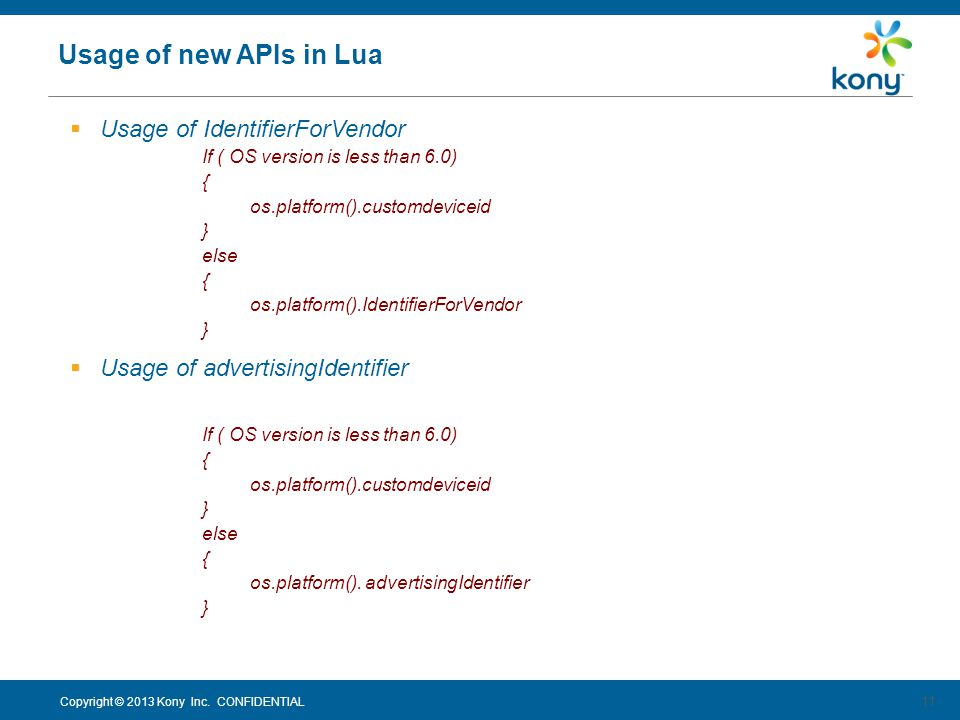 Usage of new APIs in Lua Usage of IdentifierForVendor