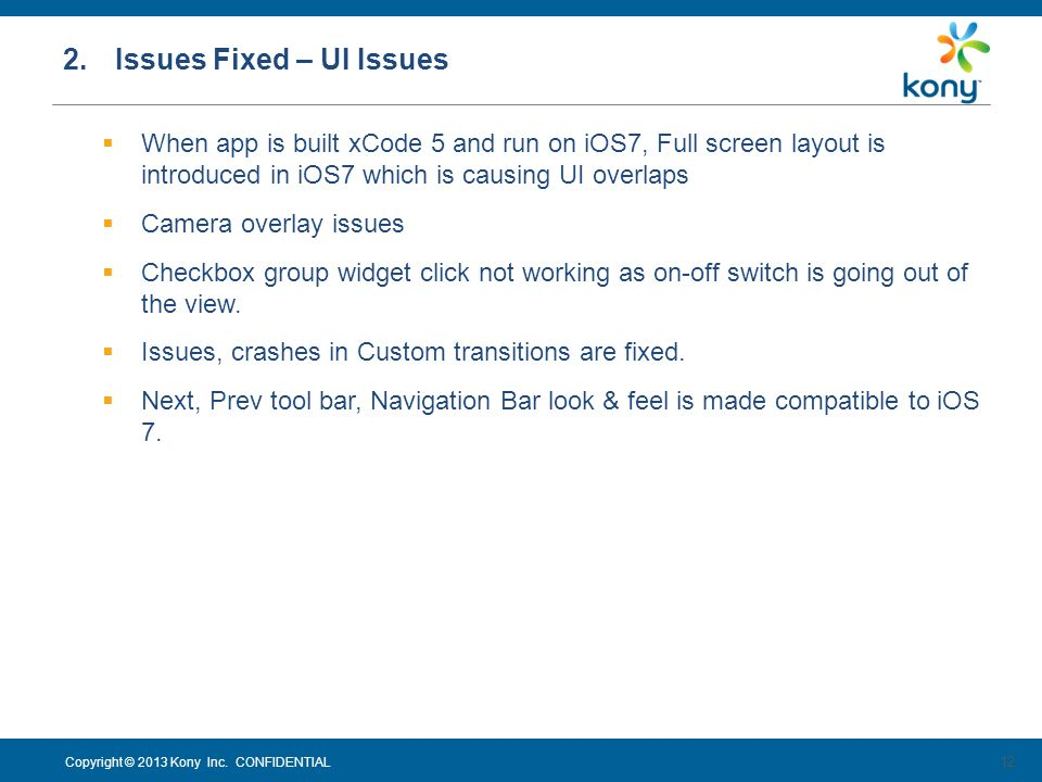2. Issues Fixed – UI Issues
