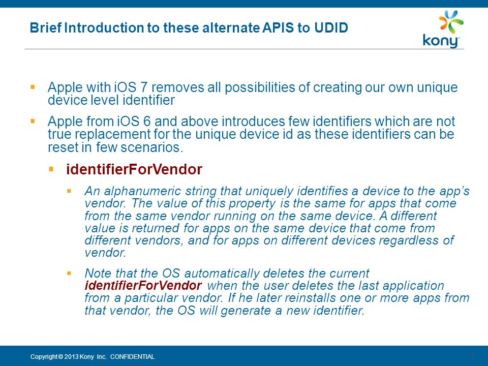 Brief Introduction to these alternate APIS to UDID