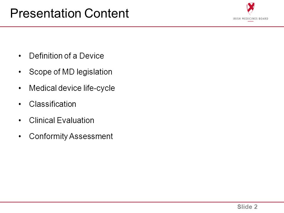 Presentation Content Definition of a Device Scope of MD legislation